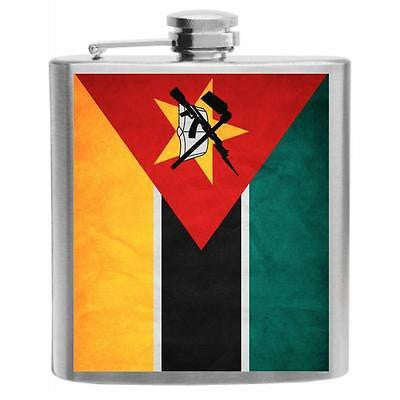 Mozambique Flag Stainless Steel Hip Flask 6oz