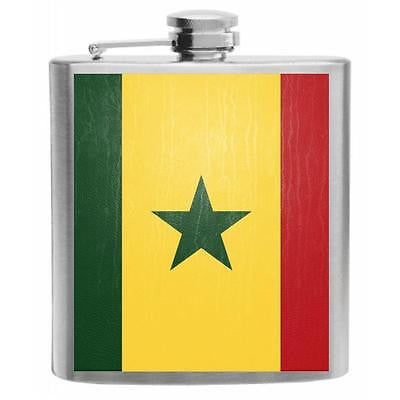 Senegal Flag Stainless Steel Hip Flask 6oz
