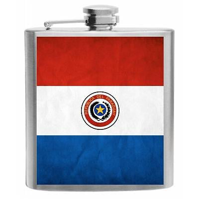 Paraguay Flag Stainless Steel Hip Flask 6oz