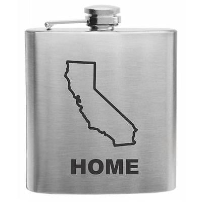 California Home State Stainless Steel Hip Flask 6oz