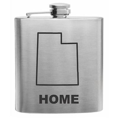 Utah Home State Stainless Steel Hip Flask 6oz