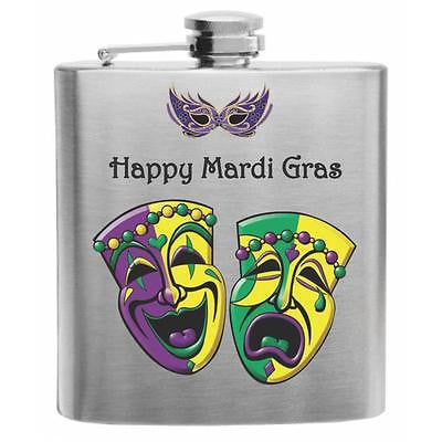 Mardi Gras New Orleans Stainless Steel Hip Flask 6oz