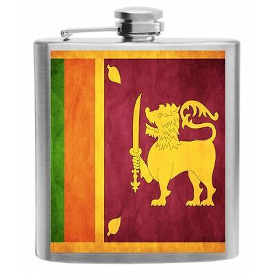 Sri Lanka Flag Stainless Steel Hip Flask 6oz