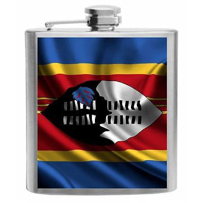 Swaziland Flag Stainless Steel Hip Flask 6oz