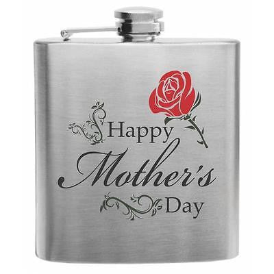 Happy Red Rose Stainless Steel Hip Flask 6oz