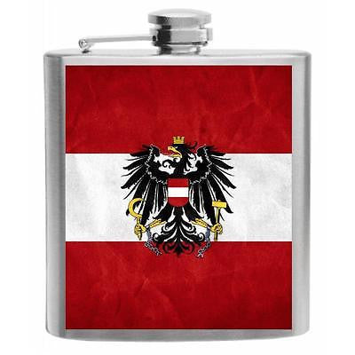 Austria Flag Stainless Steel Hip Flask 6oz