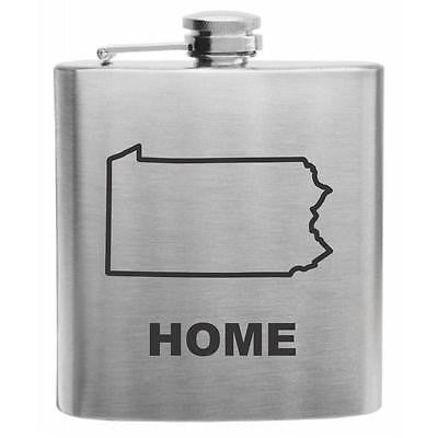 Pennsylvania Home State Stainless Steel Hip Flask 6oz