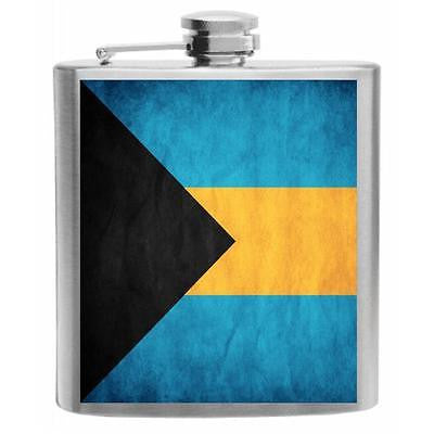 Bahamas Flag Stainless Steel Hip Flask 6oz