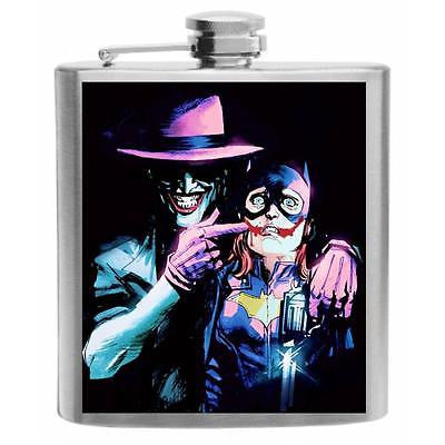 The Joker and Bat Girl Stainless Steel Hip Flask 6oz