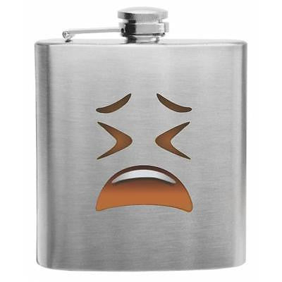 Emoji Tired Face Stainless Steel Hip Flask 6oz