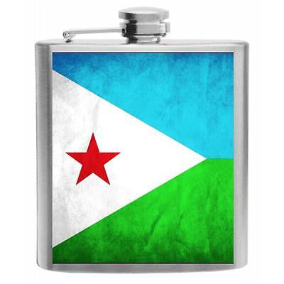 Djibouti Flag Stainless Steel Hip Flask 6oz