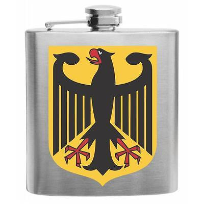 German Flag Eagle Stainless Steel Hip Flask 6oz