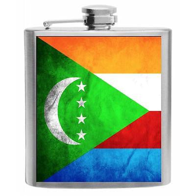Comoros Flag Stainless Steel Hip Flask 6oz