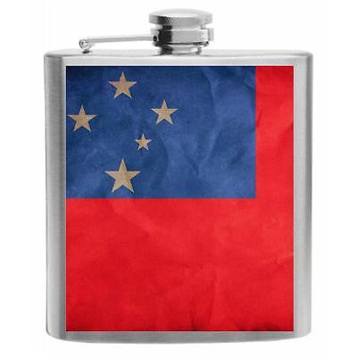 Samoa Flag Stainless Steel Hip Flask 6oz