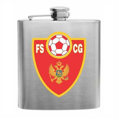 Montenegro Football Stainless Steel Hip Flask 6oz