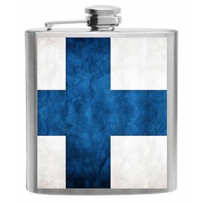 Finland Flag Stainless Steel Hip Flask 6oz