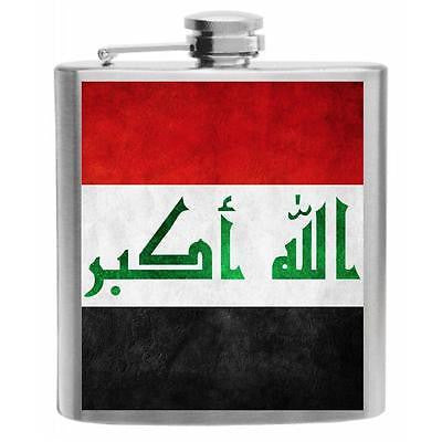 Iraq Flag Stainless Steel Hip Flask 6oz