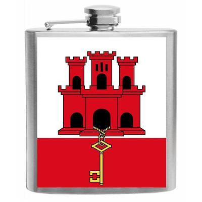 Gibraltar Flag Stainless Steel Hip Flask 6oz