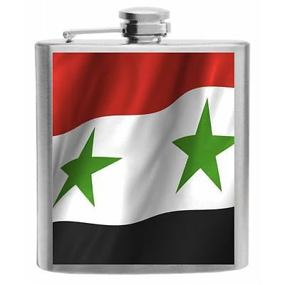 Syria Flag Stainless Steel Hip Flask 6oz