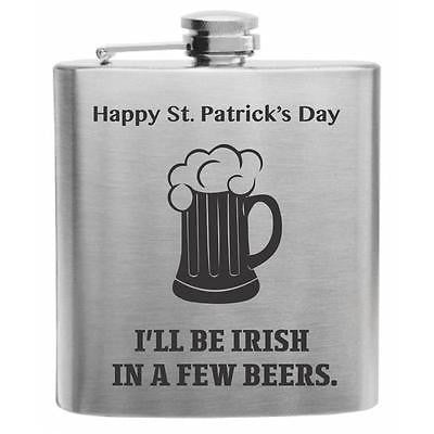 Happy St. Patrick's Day Quote Stainless Steel Hip Flask 6oz