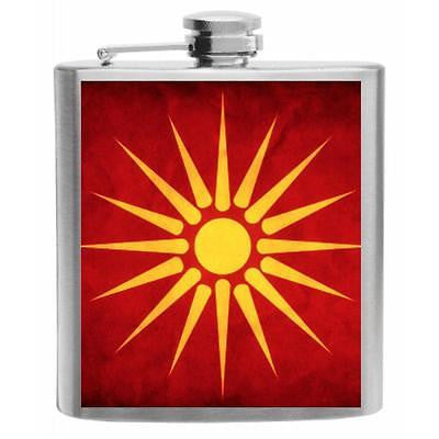 Macedonia Flag Stainless Steel Hip Flask 6oz