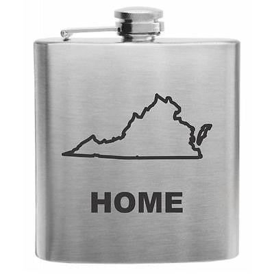 Virginia Home State Stainless Steel Hip Flask 6oz