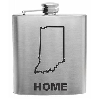 Indiana Home State Stainless Steel Hip Flask 6oz