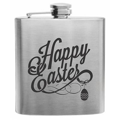 Happy Easter Logo Stainless Steel Hip Flask 6oz
