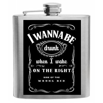 Right Side of the Wrong Bed Stainless Steel Hip Flask 6oz