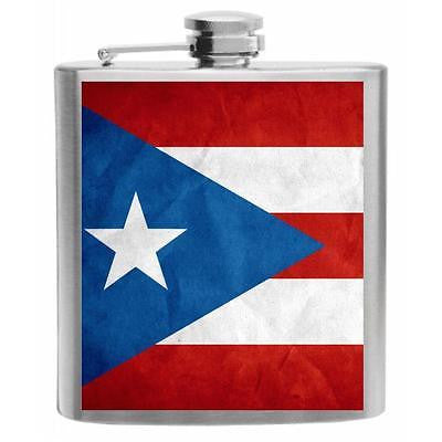 Puerto Rico Flag Stainless Steel Hip Flask 6oz