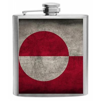 Greenland Flag Stainless Steel Hip Flask 6oz