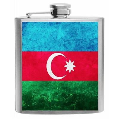Azerbaijan Flag Stainless Steel Hip Flask 6oz