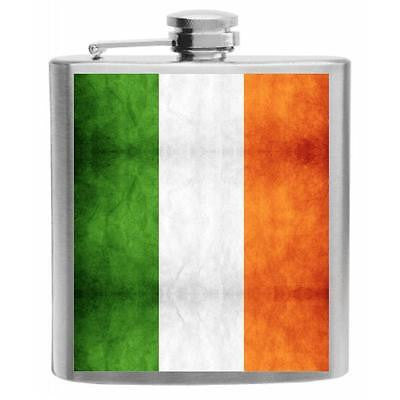 Ireland Flag Stainless Steel Hip Flask 6oz
