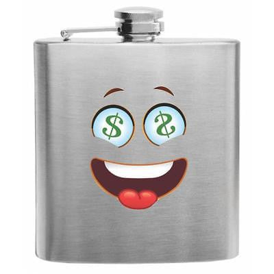 Emoji Siling Face with Dollar Sign Eyes Stainless Steel Hip Flask 6oz