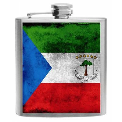 Equatorial Guinea Flag Stainless Steel Hip Flask 6oz