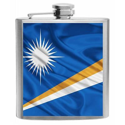 Marshall Islands Flag Stainless Steel Hip Flask 6oz