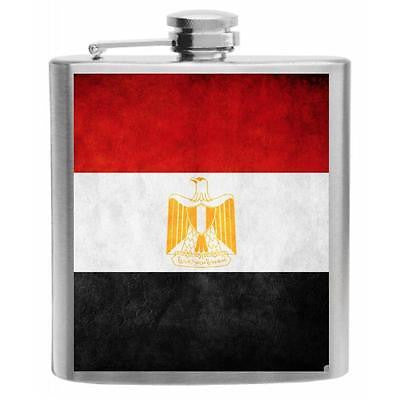 Egypt Flag Stainless Steel Hip Flask 6oz