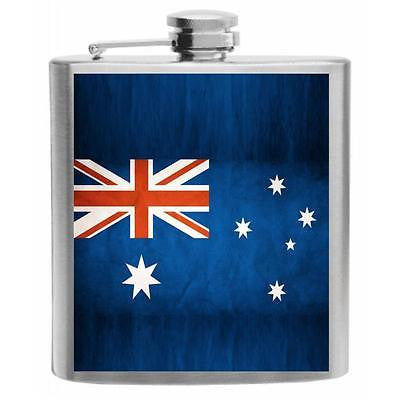 Australia Flag Stainless Steel Hip Flask 6oz
