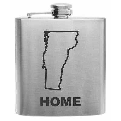 Vermont Home State Stainless Steel Hip Flask 6oz