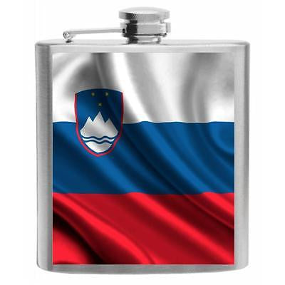 Slovenia Flag Stainless Steel Hip Flask 6oz