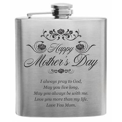 "Quote ""Love You Mom"" Stainless Steel Hip Flask 6oz"