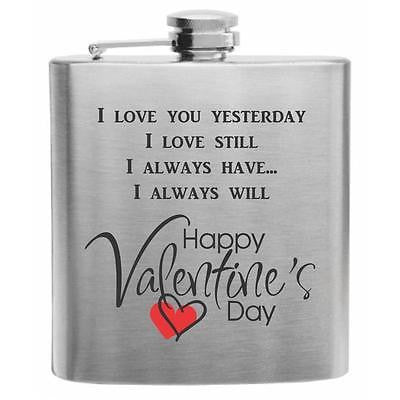 V-Day Quote Stainless Steel Hip Flask 6oz