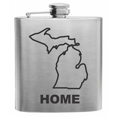Michigan Home State Stainless Steel Hip Flask 6oz