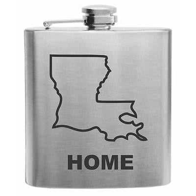 Louisiana Home State Stainless Steel Hip Flask 6oz