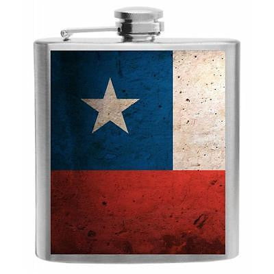 Chile Flag Stainless Steel Hip Flask 6oz