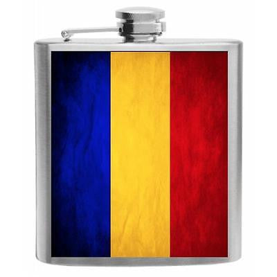 Chad Flag Stainless Steel Hip Flask 6oz