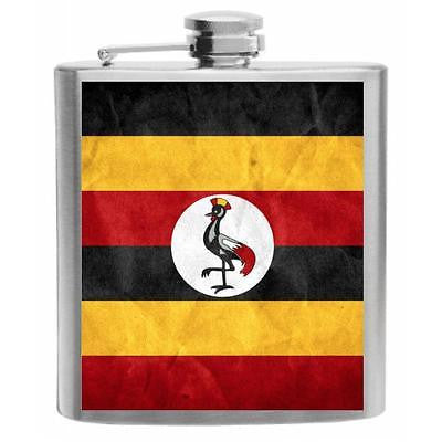 Uganda Flag Stainless Steel Hip Flask 6oz
