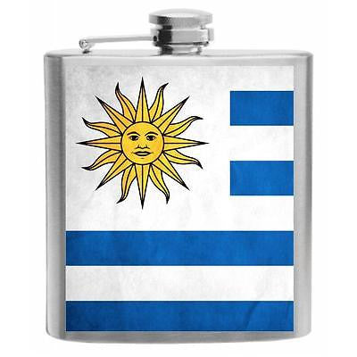 Uruguay Flag Stainless Steel Hip Flask 6oz