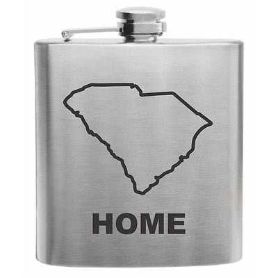 South Carolina Home State Stainless Steel Hip Flask 6oz