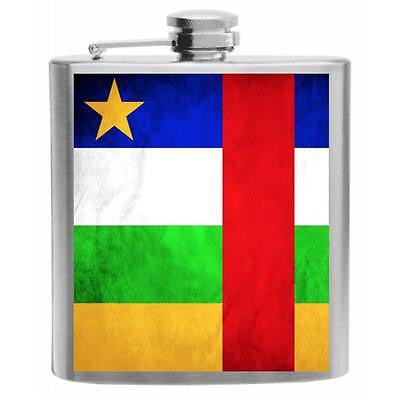 Central African Republic Flag Stainless Steel Hip Flask 6oz